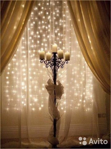 Christmas curtains with lights