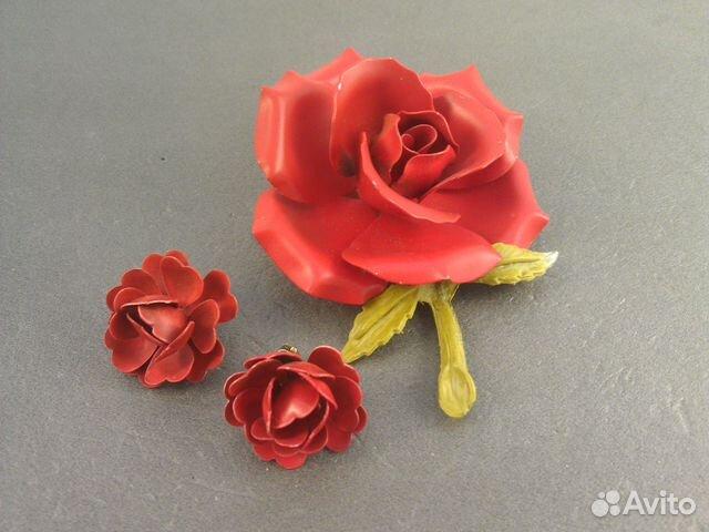 c75736164f8b Винтажный комплект брошь и клипсы розы. 50е США купить в Санкт ...
