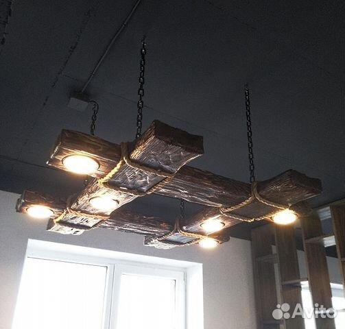 светильник из дерева в стиле кантрилофт