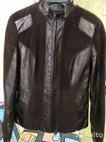 Куртка женская кожаная коричневая размер М  89156546204 купить 2
