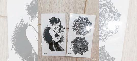 переводные тату цветы и черно белые
