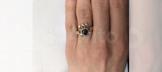 9397f8277c72 Кладдахское кольцо золото 750 сапфир бриллиант купить в Москве на Avito —  Объявления на сайте Авито