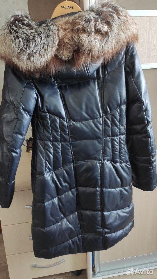 Зимний кожаный Пуховик с лисой длинный  89139687644 купить 3